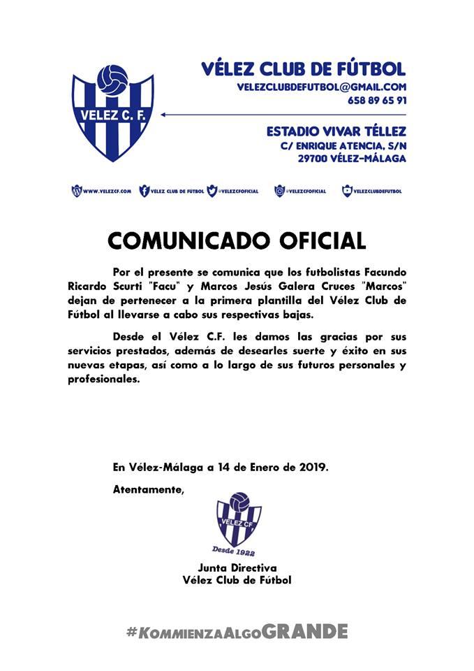 El Vélez Club de Fútbol anuncia dos nuevas bajas